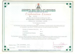 Nigeria Gold Exploration License For Sale