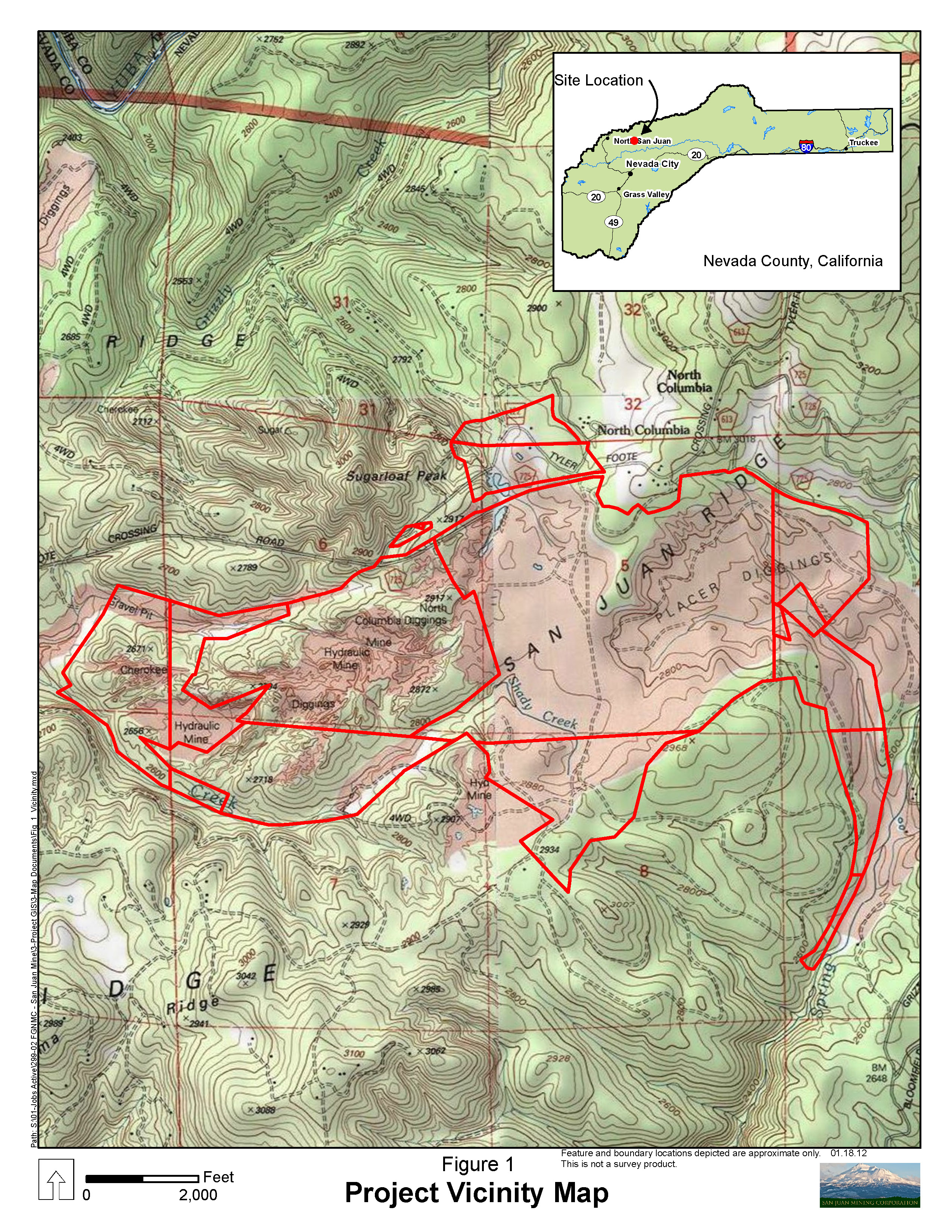 San Juan Ridge Gold Mine - Vicinity Map